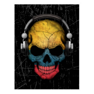 Scratched Colombian Dj Skull with Headphones Postcard