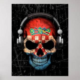 Scratched Croatian Dj Skull with Headphones Poster