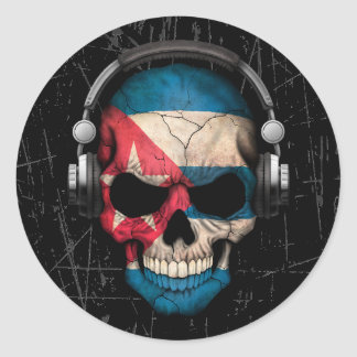 Scratched Cuban Dj Skull with Headphones Round Stickers