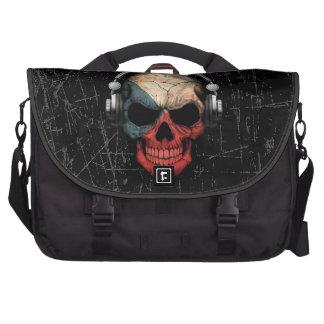 Scratched Czech Dj Skull with Headphones Commuter Bag