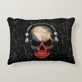 Scratched Czech Dj Skull with Headphones Accent Pillow