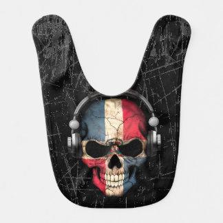 Scratched Dominican Dj Skull with Headphones Baby Bib
