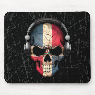 Scratched Dominican Dj Skull with Headphones Mouse Pad
