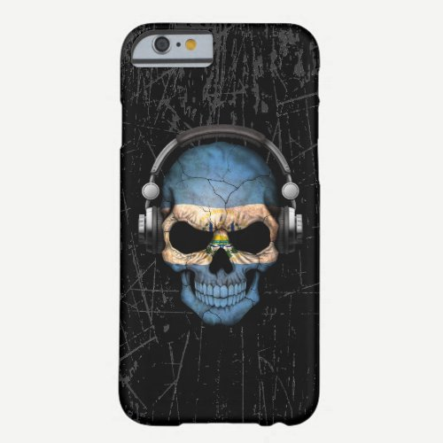 Scratched El Salvador Dj Skull with Headphones Barely There iPhone 6 Case
