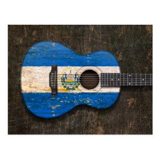Scratched El Salvador Flag Acoustic Guitar Postcard