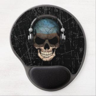 Scratched Estonian Dj Skull with Headphones Gel Mouse Pad