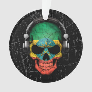Scratched Ethiopian Dj Skull with Headphones Ornament