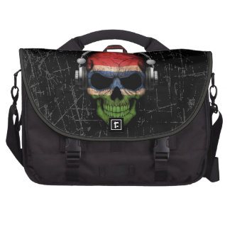 Scratched Gambian Dj Skull with Headphones Commuter Bags