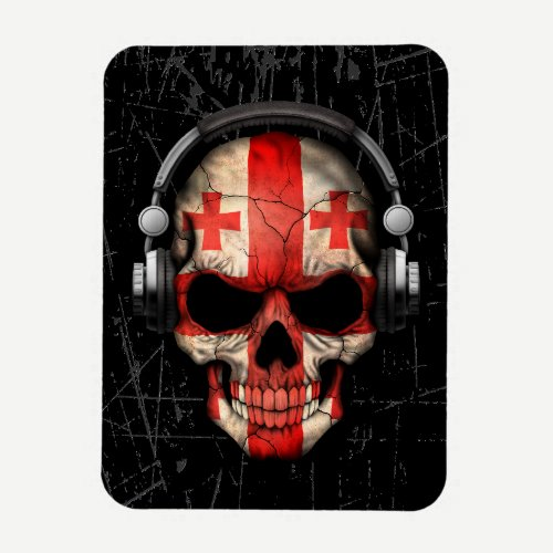 Scratched Georgian Dj Skull with Headphones Magnet