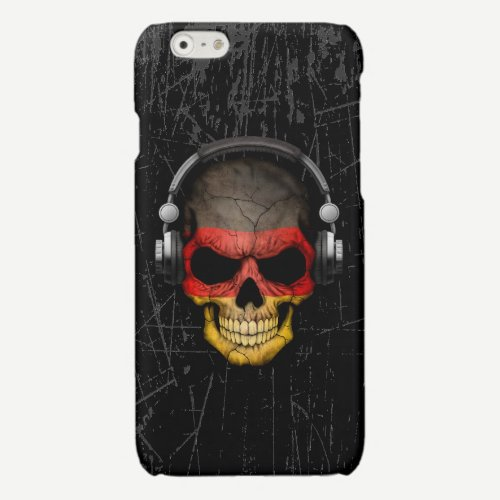 Scratched German Dj Skull with Headphones Glossy iPhone 6 Case