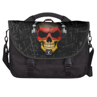 Scratched German Dj Skull with Headphones Bags For Laptop