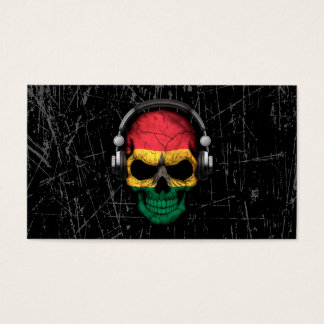 Scratched Ghana Dj Skull with Headphones Business Card