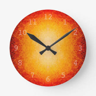 Scratched glowing fireball round clock