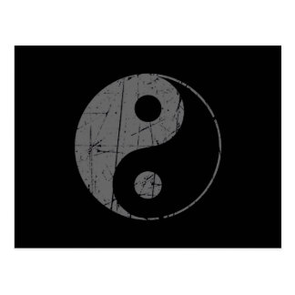Scratched Gray and Black Vintage Yin Yang Postcard