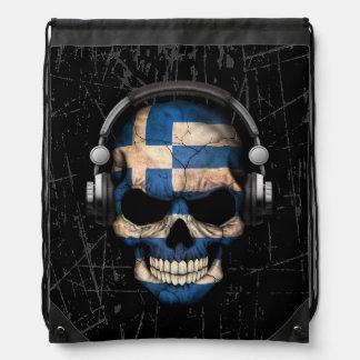 Scratched Greek Dj Skull with Headphones Drawstring Bag