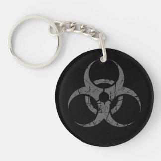 Scratched Grey Biohazard Symbol on Black Keychain
