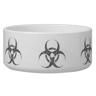 Scratched Grey Biohazard Symbol Pet Water Bowls