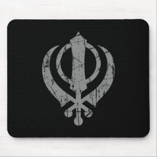 Scratched Grey Sikh Khanda Symbol on Black Mouse Pad