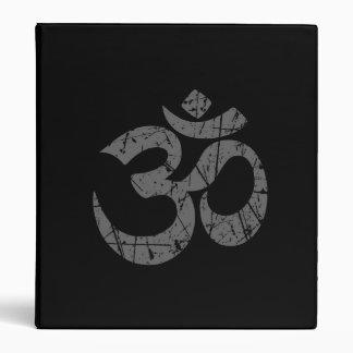 Scratched Grey Yoga Om Symbol on Black 3 Ring Binder
