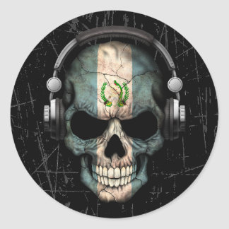 Scratched Guatemalan Dj Skull with Headphones Classic Round Sticker