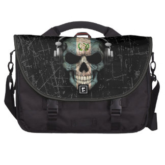 Scratched Guatemalan Dj Skull with Headphones Bags For Laptop