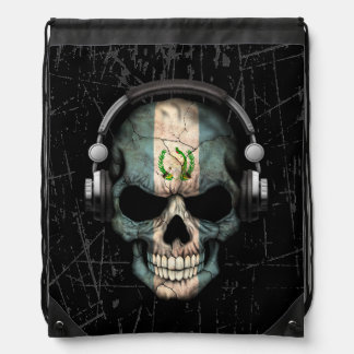 Scratched Guatemalan Dj Skull with Headphones Drawstring Bag