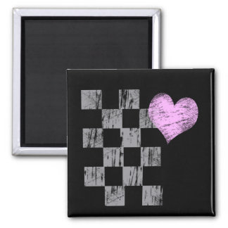 Scratched Heart 2 Inch Square Magnet