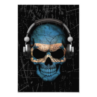 Scratched Honduras Dj Skull with Headphones Card