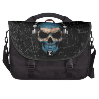 Scratched Honduras Dj Skull with Headphones Commuter Bags