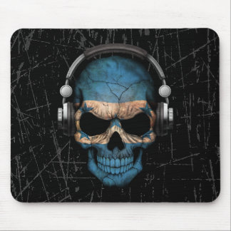 Scratched Honduras Dj Skull with Headphones Mouse Pad