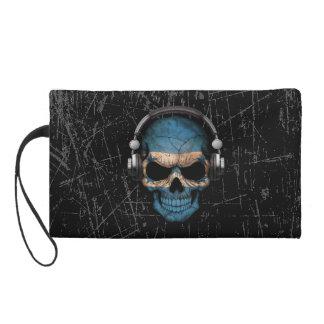 Scratched Honduras Dj Skull with Headphones Wristlet Purse