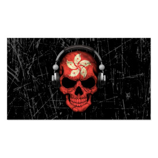 Scratched Hong Kong Dj Skull with Headphones Business Card