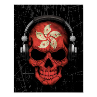 Scratched Hong Kong Dj Skull with Headphones Posters