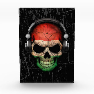 Scratched Hungarian Dj Skull with Headphones Awards