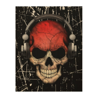 Scratched Indonesian Dj Skull with Headphones Wood Wall Art