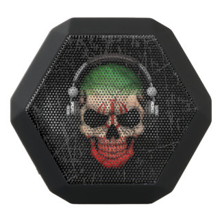Scratched Iranian Dj Skull with Headphones Black Bluetooth Speaker