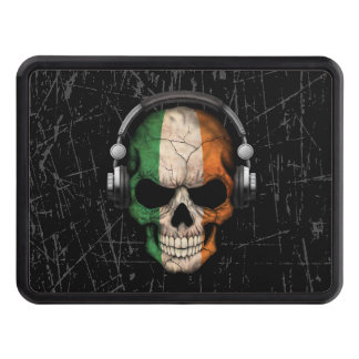 Scratched Irish Dj Skull with Headphones Hitch Cover