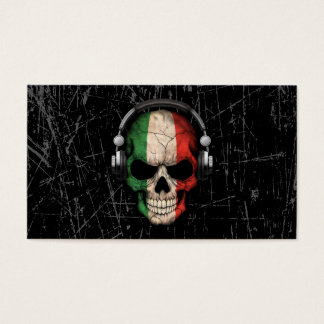 Scratched Italian Dj Skull with Headphones Business Card