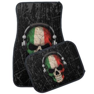 Scratched Italian Dj Skull with Headphones Car Mat