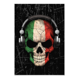 Scratched Italian Dj Skull with Headphones Card