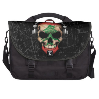 Scratched Lebanese Dj Skull with Headphones Bags For Laptop