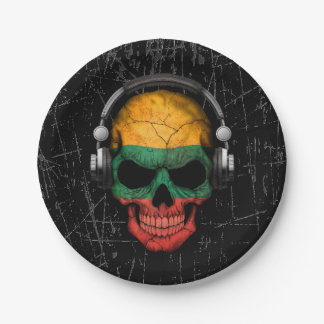 Scratched Lithuanian Dj Skull with Headphones Paper Plate