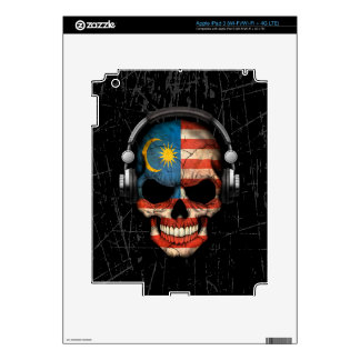 Scratched Malaysian Dj Skull with Headphones Decal For iPad 3