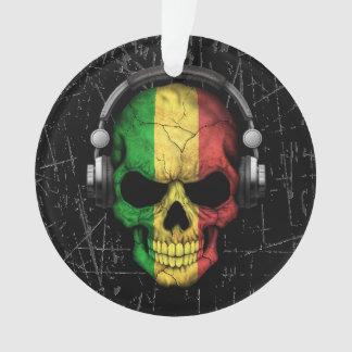 Scratched Mali Dj Skull with Headphones Ornament