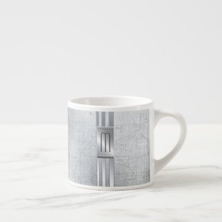 Scratched Metal Stripes Monogram Blue ID443 Espresso Cup