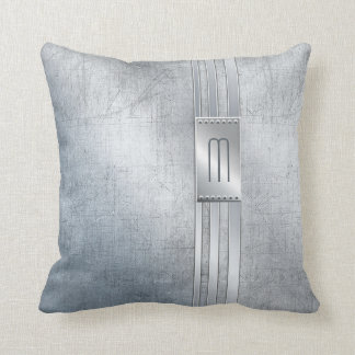 Scratched Metal Stripes Monogram Blue ID443 Throw Pillow