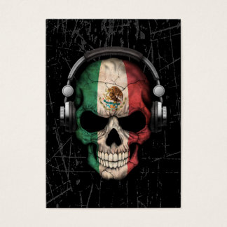 Scratched Mexican Dj Skull with Headphones Business Card