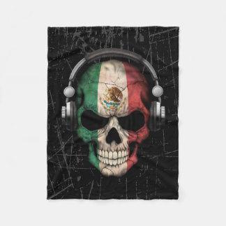 Scratched Mexican Dj Skull with Headphones Fleece Blanket