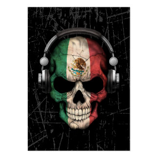 Scratched Mexican Dj Skull with Headphones Large Business Card