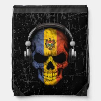 Scratched Moldovan Dj Skull with Headphones Drawstring Bag